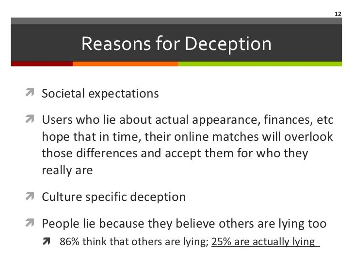 deception in online dating This study examined how differences in expectations about meeting impacted the degree of deceptive self-presentation individuals displayed within the context of dating.