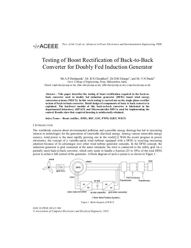 Testing of Boost Rectification of Back-to-Back Converter for Doubly Fed Induction Generator Mr.A.P.Deshpande1 , Dr. B.N.Ch...