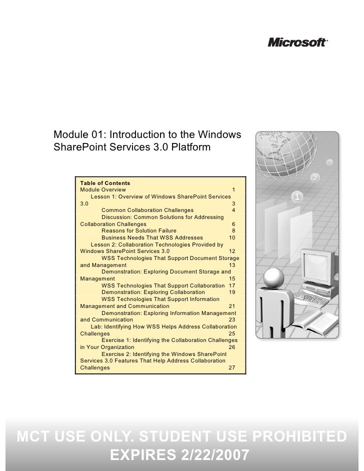 Module 01: Introduction to the Windows     SharePoint Services 3.0 Platform            Table of Contents          Module O...