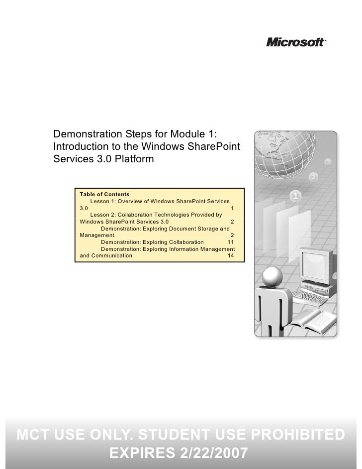 Demonstration Steps for Module 1:     Introduction to the Windows SharePoint     Services 3.0 Platform            Table of...