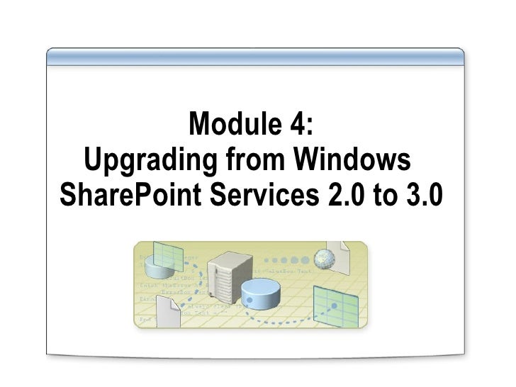 Module 4: Upgrading from W indows  SharePoint Services 2.0 to 3.0
