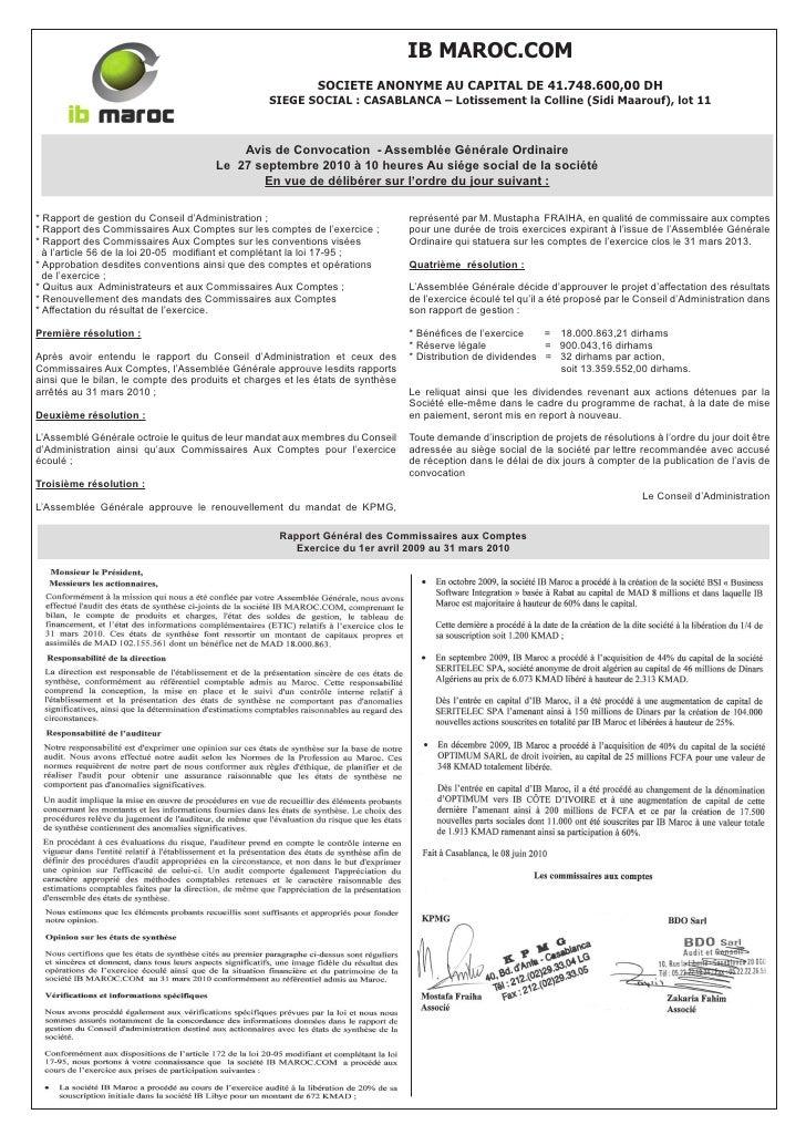 IB MAROC.COM                                                             SOCIETE ANONYME AU CAPITAL DE 41.748.600,00 DH   ...