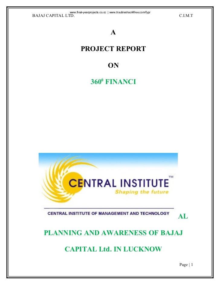 www.final-yearprojects.co.cc   www.troubleshoot4free.com/fyp/BAJAJ CAPITAL LTD.                                           ...