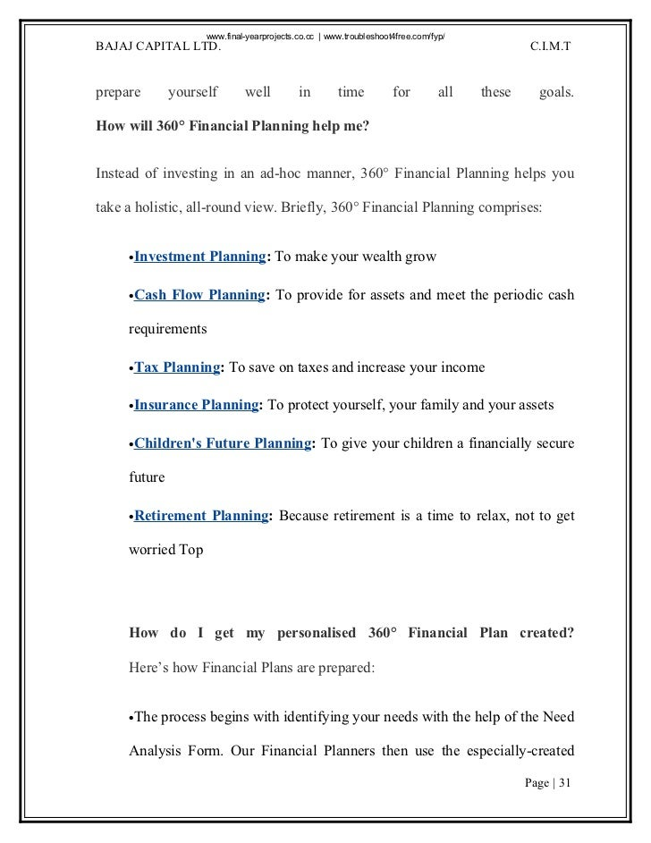 With The Help Of 360°Financial Planning, You Can Page | 30; 31. ... Good Ideas