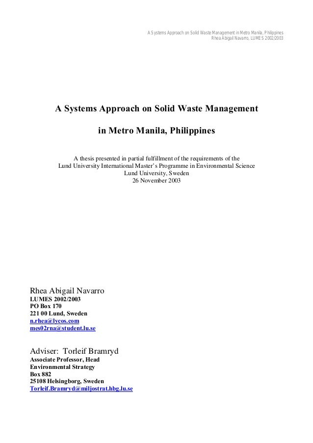 related literature on solid waste practices in philippines Organization (ide-jetro) and the solid waste management  lisa antonio's  2009 study on recyclables collection trends and best practices in the  flow  and other relevant information on waste management and.