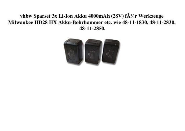 vhbw Sparset 3x Li-Ion Akku 4000mAh (28V) für Werkzeuge Milwaukee HD28 HX Akku-Bohrhammer etc. wie 48-11-1830, 48-11-2830,...