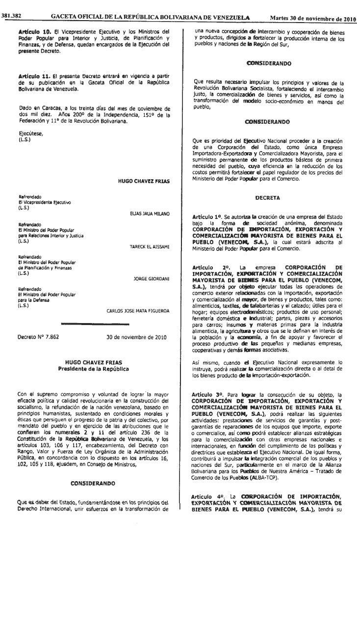 Corporación de Importación, Exportación y Comercialización Mayorista de Bienes para el Pueblo VENECOM, S.A.