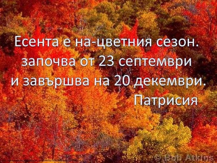 Есента е на-цветния сезон. <br />започва от 23 септември <br />и завършва на 20 декември.<br />Патрисия<br />http://boards...