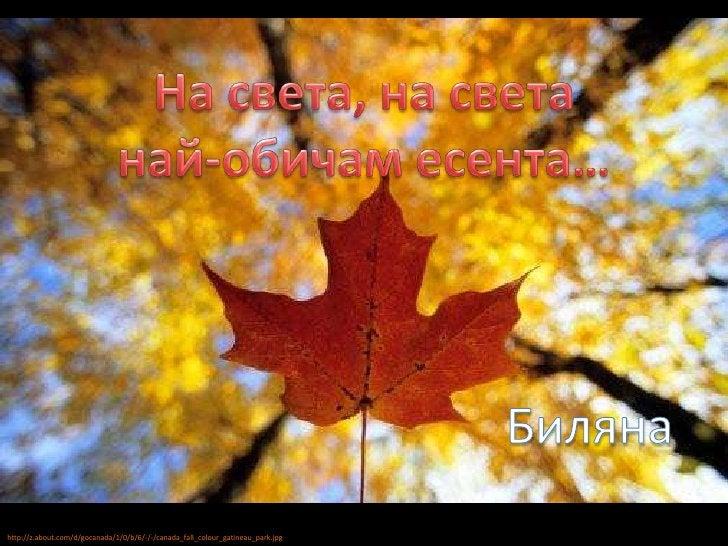 На света, на света<br />най-обичам есента…<br />Биляна<br />http://z.about.com/d/gocanada/1/0/b/6/-/-/canada_fall_colour_g...