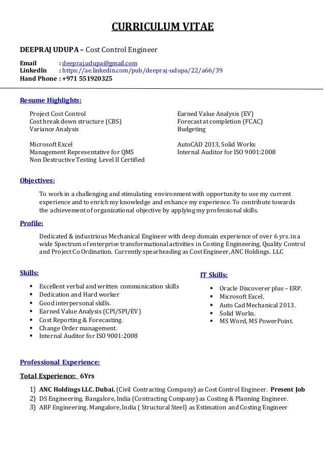 CURRICULUM VITAE DEEPRAJUDUPAu2013 Cost Control Engineer Email :  Deepraj.udupa@gmail.com ...