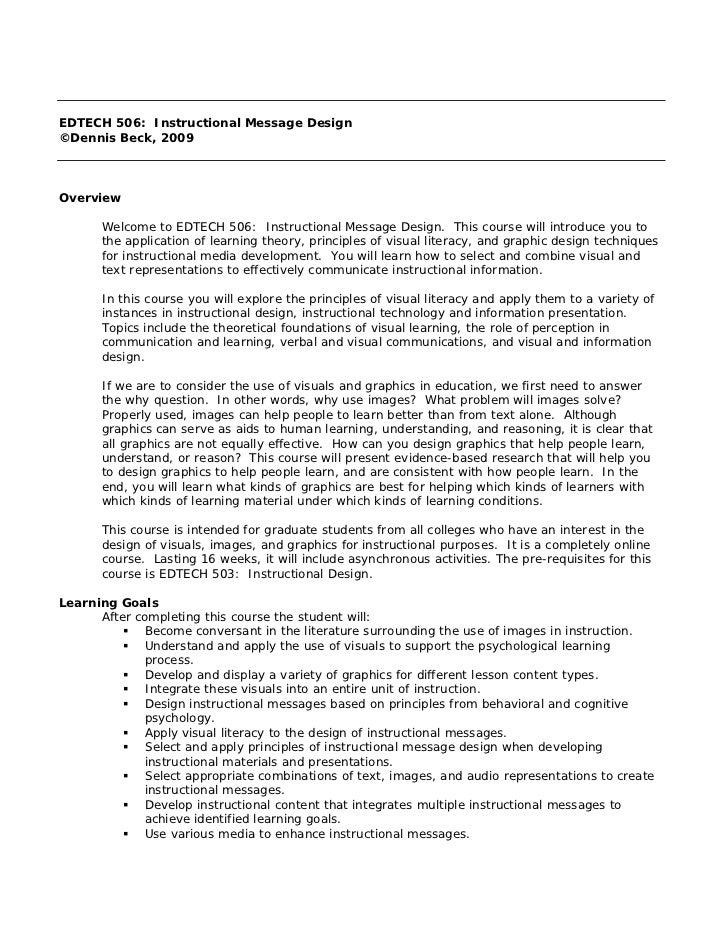 EDTECH 506: Instructional Message Design©Dennis Beck, 2009Overview      Welcome to EDTECH 506: Instructional Message Desig...