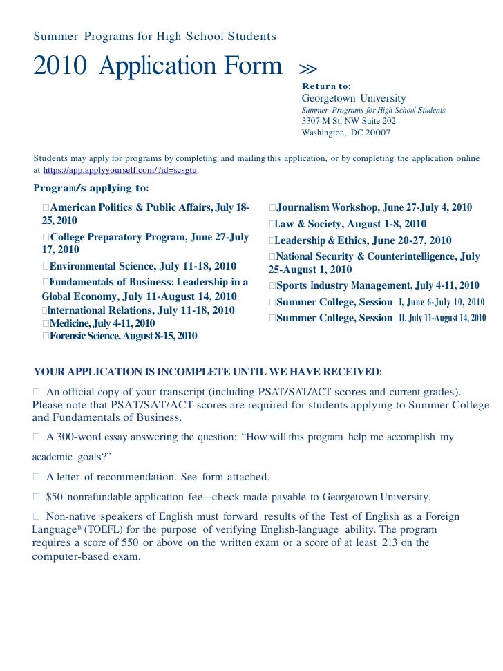 Summer Programs for High School Students  2010 Application Form                                               >>          ...