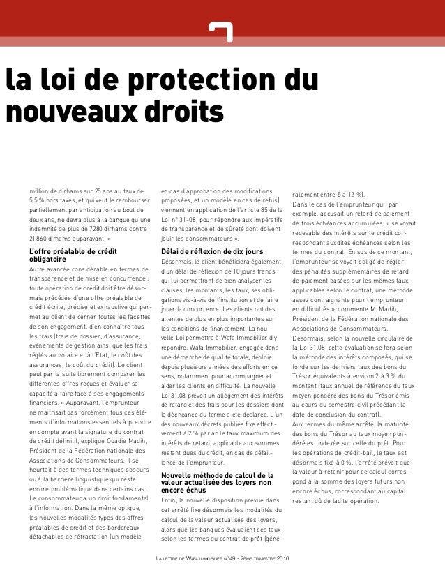 la loi de protection du nouveaux droits million de dirhams sur 25 ans au taux de 5,5% hors taxes, et qui veut le rembours...