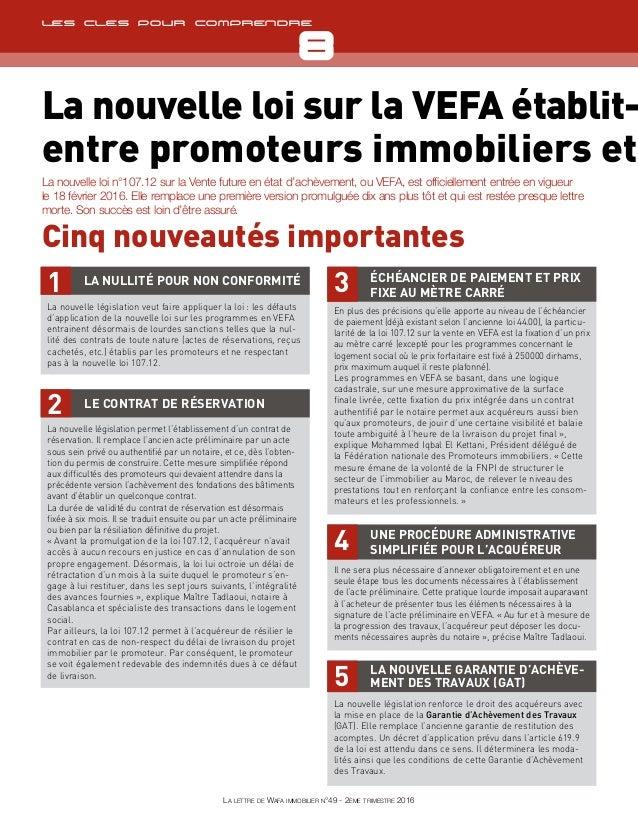 TêtièreCheck-list 8 La lettre de Wafa immobilier n°49 - 2ème trimestre 2016 TêtièreLes cles pour comprendre La nouvelle lo...