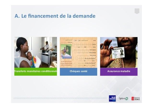A. Le  financement  de  la  demande   Transferts  monétaires  condi/onnels   Chèques  santé Assurance  ...
