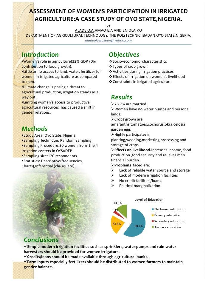 ASSESSMENTOFWOMEN'SPARTICIPATIONINIRRIGATED     AGRICULTURE:ACASESTUDYOFOYOSTATE,NIGERIA.                      ...