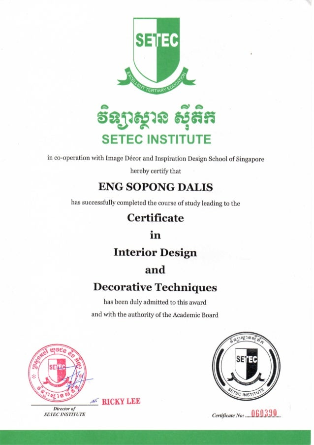 Certificate In Interior Design And Decorative Techniques (Setec)