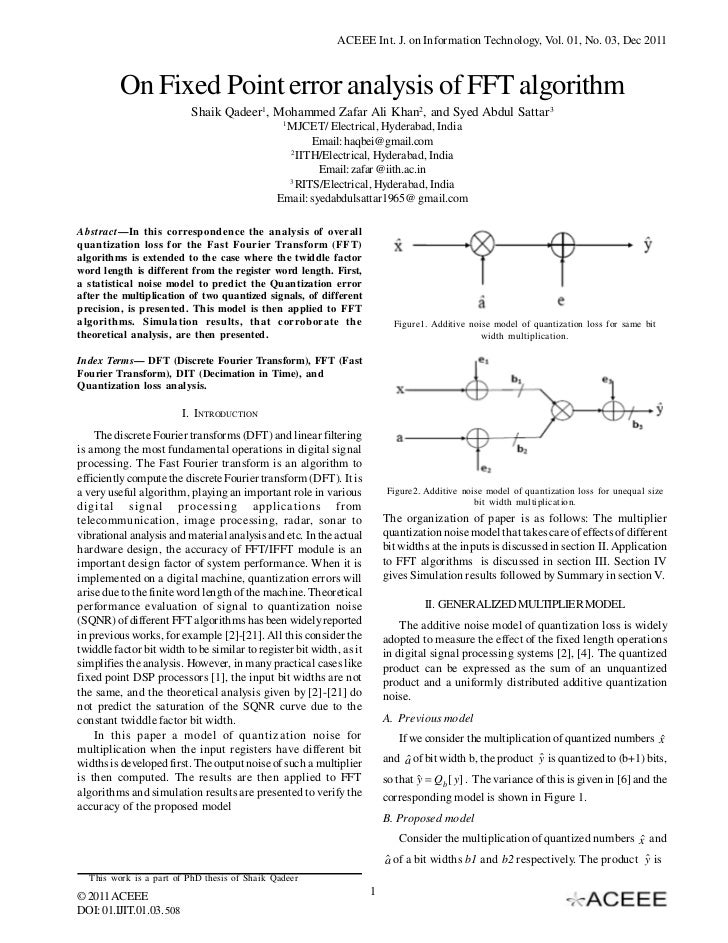 ACEEE Int. J. on Information Technology, Vol. 01, No. 03, Dec 2011          On Fixed Point error analysis of FFT algorithm...