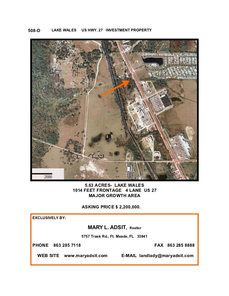 508-D    LAKE WALES      US HWY. 27 INVESTMENT PROPERTY                        5.63 ACRES- LAKE WALES                   10...