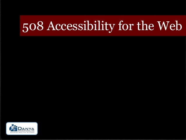 508 Accessibility for the Web