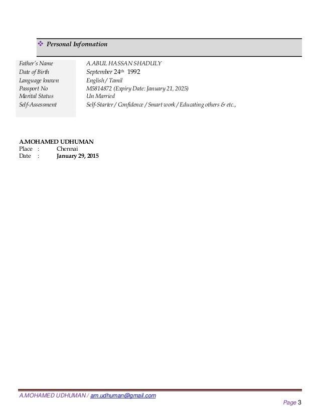 Resume Md Udhuman B.com