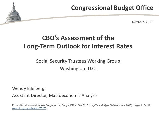 Congressional Budget Office CBO's Assessment of the Long-Term Outlook for Interest Rates Social Security Trustees Working ...