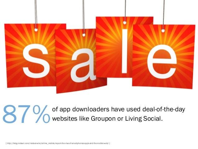 87%  of app downloaders have used deal-of-the-day websites like Groupon or Living Social.  [ http://blog.nielsen.com/niels...