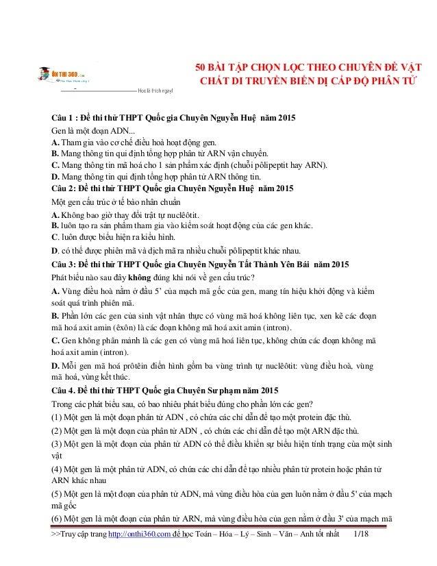 >>Truy cập trang http://onthi360.com để học Toán – Hóa – Lý – Sinh – Văn – Anh tốt nhất 1/18 50 BÀI TẬP CHỌN LỌC THEO CHUY...
