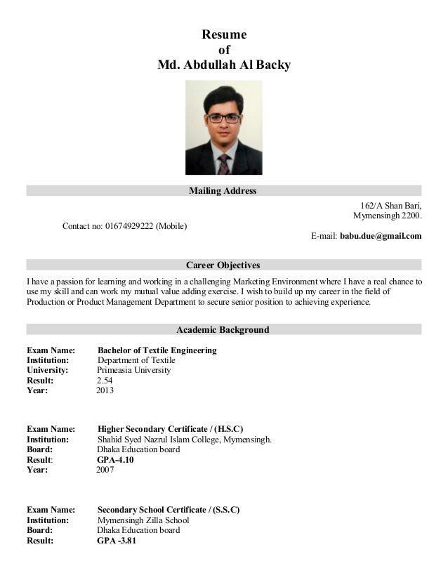 CV of Backy
