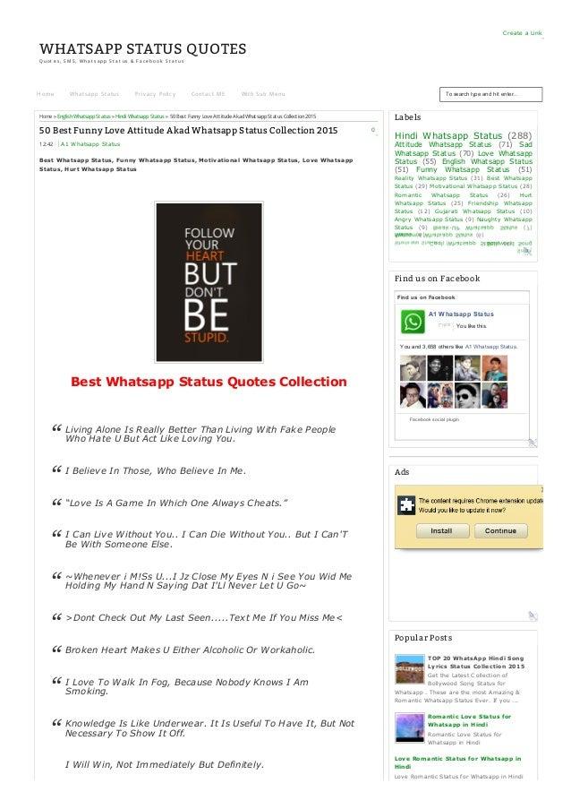Whatsapp Status Awesome: 50 Best Funny Love Attitude Akad Whatsapp Status