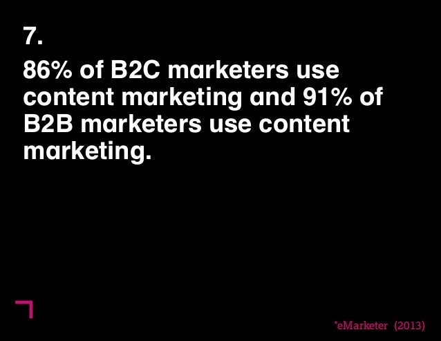 7.  86% of B2C marketers use  content marketing and 91% of  B2B marketers use content  marketing.  *eMarketer (2013)  11