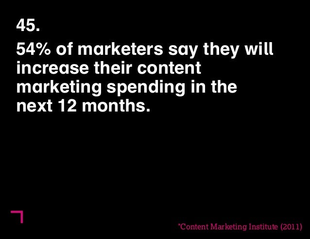 45.  54% of marketers say they will  increase their content  marketing spending in the  next 12 months.  *Content Marketin...