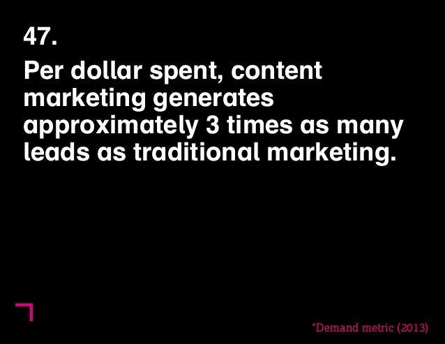47.  Per dollar spent, content  marketing generates  approximately 3 times as many  leads as traditional marketing.  *Dema...