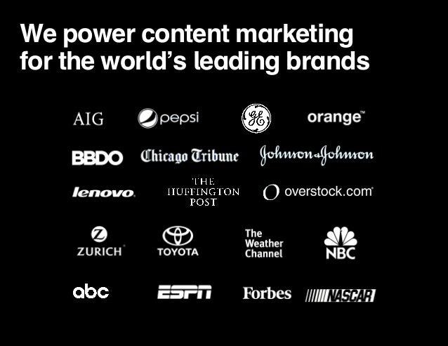 We power content marketing  for the world's leading brands
