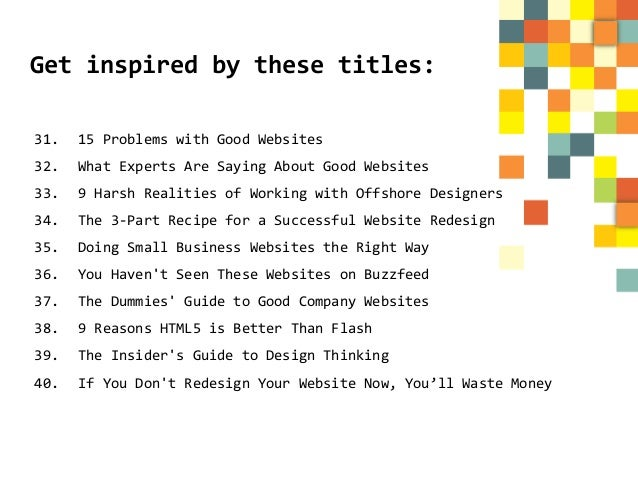 50 Blog Post Ideas for a Web Designer\'s Blog