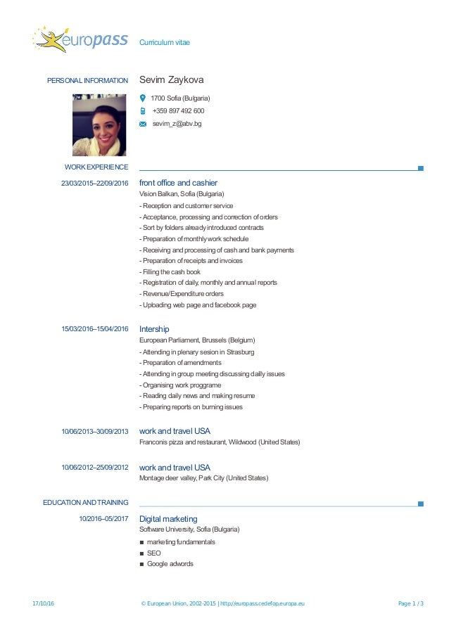 Work and travel usa resume