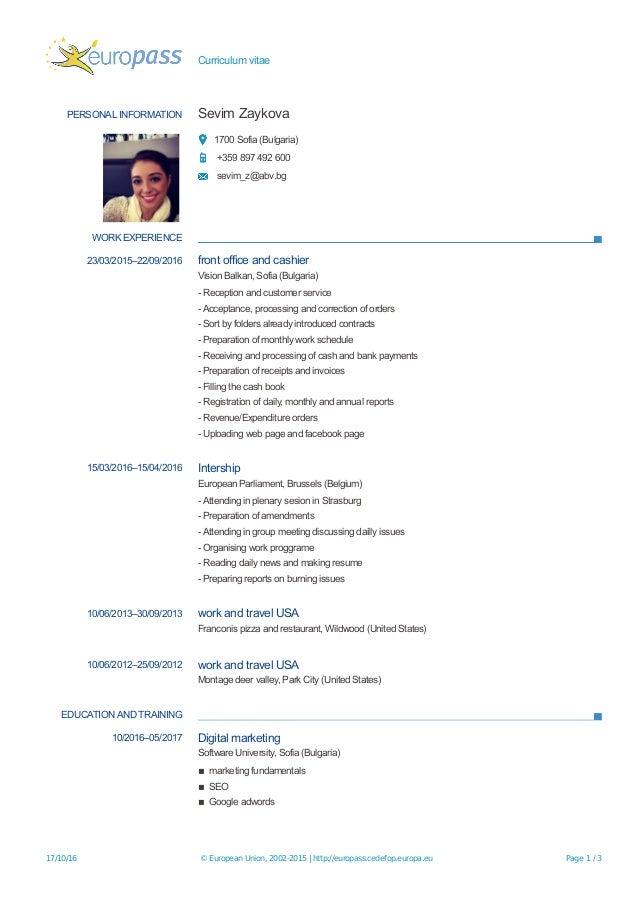 Work and travel usa resume