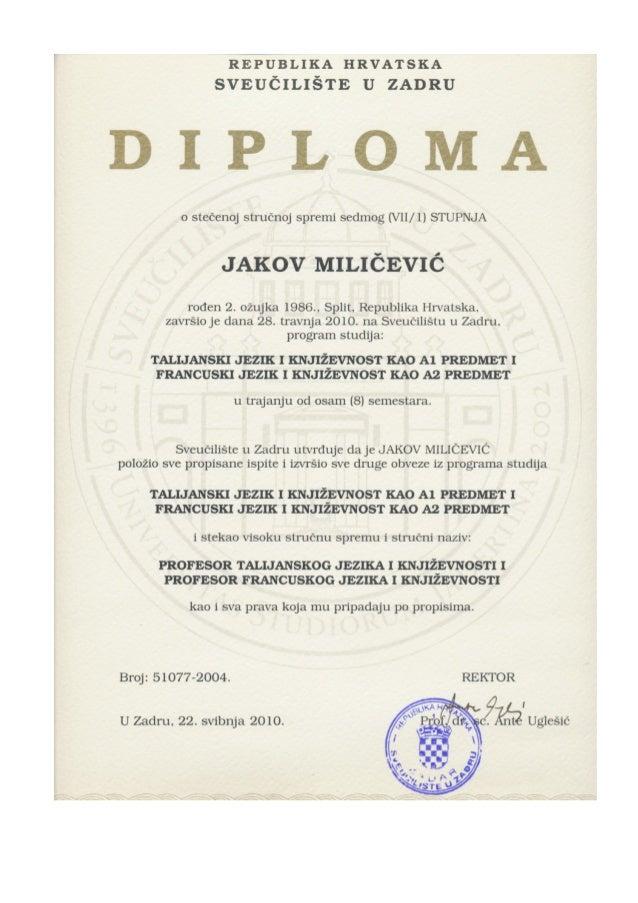 R E P U B L I Q U E D E C R O A T I E U N I V E R S I T É D E Z A D A R DIPLÔME UNIVERSITAIRE de la qualification professi...