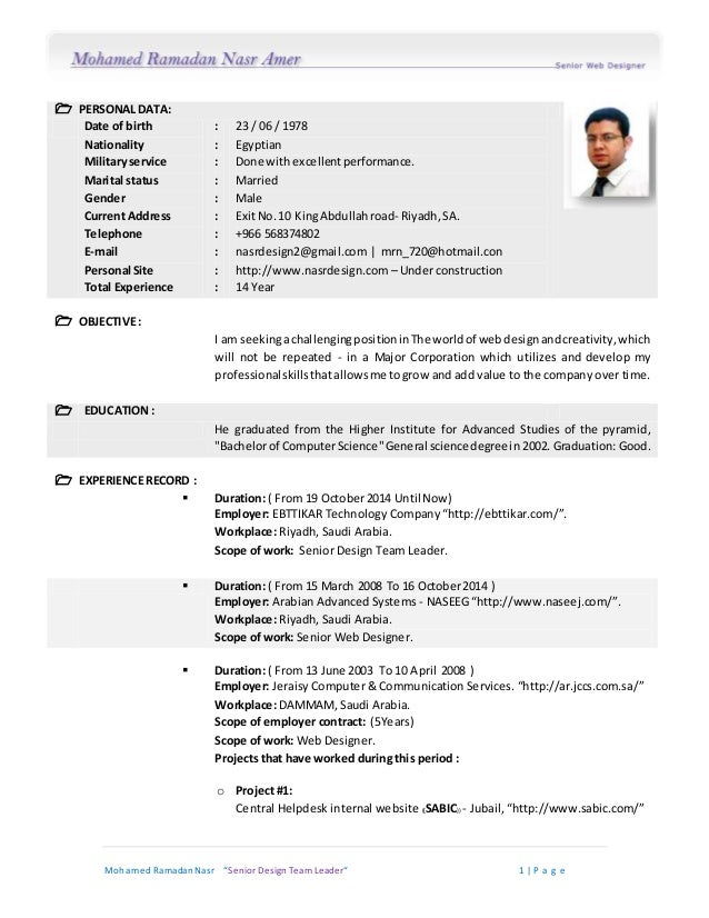 senior design team leader cv