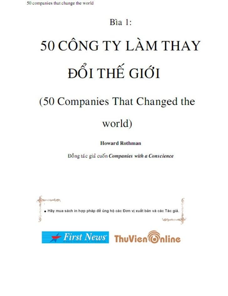 50 companies that change the world                                        Bìa 1:      50 COÂNG TY LAØM THAY               ...