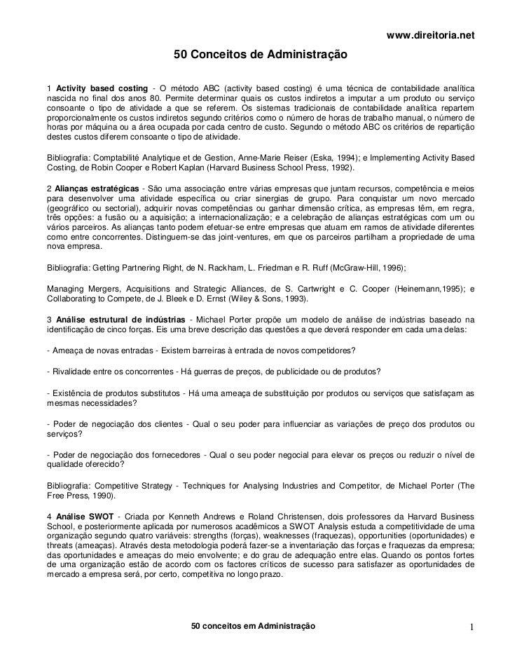 www.direitoria.net                                  50 Conceitos de Administração1 Activity based costing - O método ABC (...