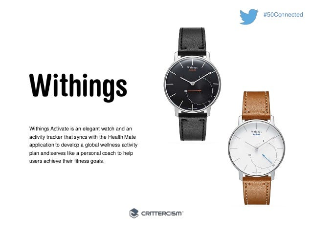 #50Connected  Withings Activate is an elegant watch and an  activity tracker that syncs with the Health Mate  application ...