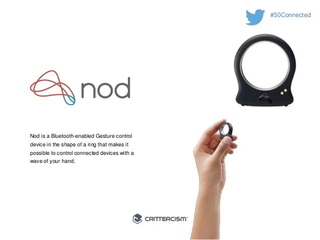 #50Connected  Nod is a Bluetooth-enabled Gesture control  device in the shape of a ring that makes it  possible to control...