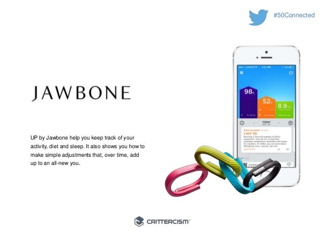 #50Connected  UP by Jawbone help you keep track of your  activity, diet and sleep. It also shows you how to  make simple a...
