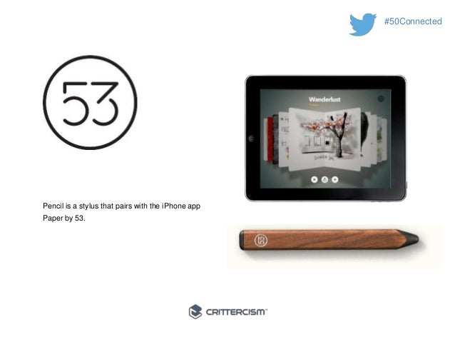 #50Connected  Pencil is a stylus that pairs with the iPhone app  Paper by 53.
