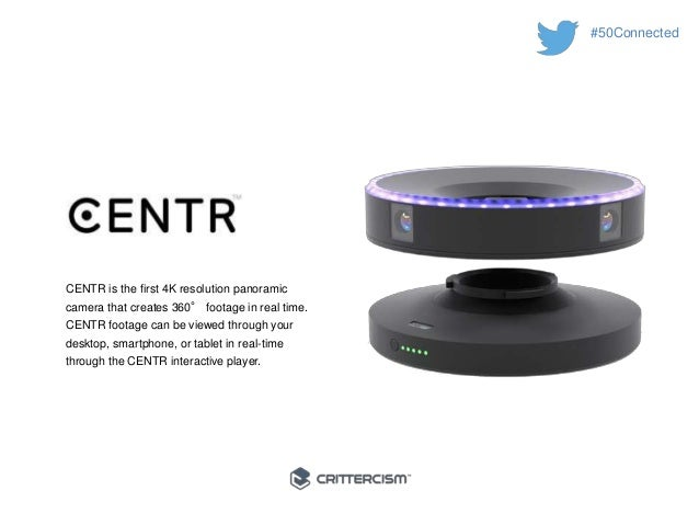 #50Connected  CENTR is the first 4K resolution panoramic  camera that creates 360° footage in real time.  CENTR footage ca...