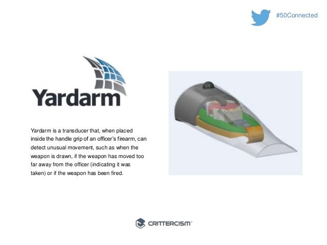 #50Connected  Yardarm is a transducer that, when placed  inside the handle grip of an officer's firearm, can  detect unusu...