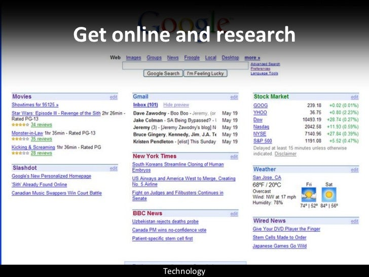 Get online and research              Technology