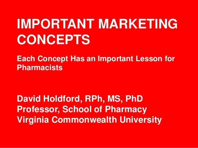 IMPORTANT MARKETING CONCEPTS David Holdford, RPh, MS, PhD Professor, School of Pharmacy Virginia Commonwealth University E...
