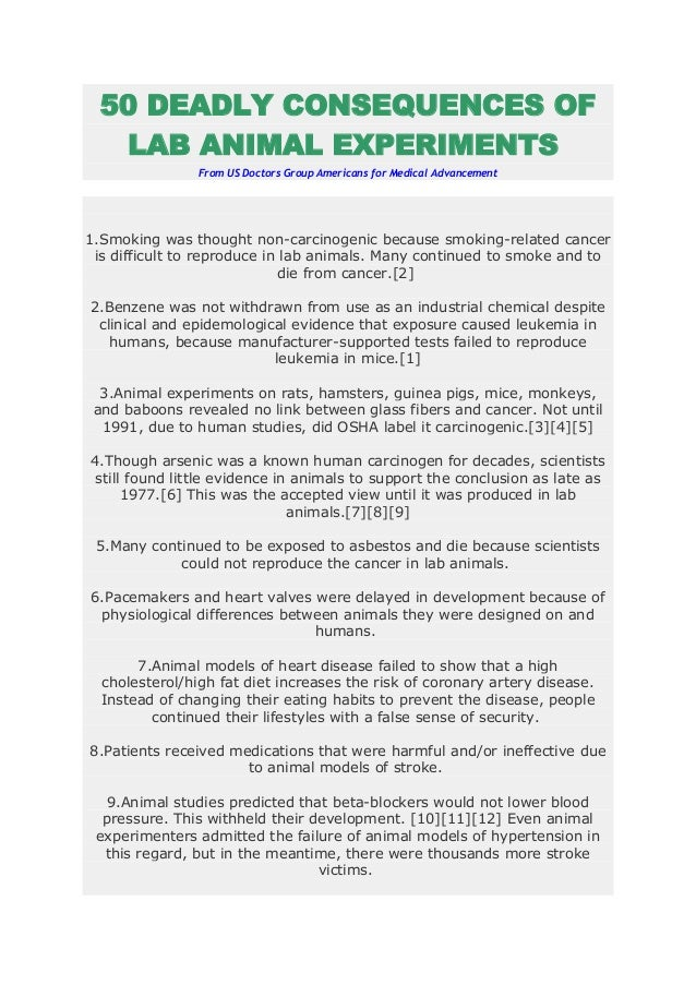 50 DEADLY CONSEQUENCES OF   LAB ANIMAL EXPERIMENTS                From US Doctors Group Americans for Medical Advancement1...